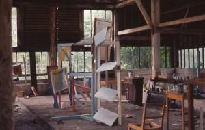 David Nash, Blue Place, 1966, work in progress, Coombe Farm Barn