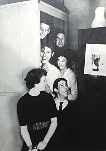 Photography Dark Room door c1956 - From top, Roger Webb, Charlie Baker, Bob Broadley, Angela Shaw, Terry Anthony, the last person is unknown. Image courtesy of Carol Freeman