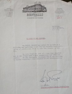 Letter of reference from Bentalls regarding mural work by George Pearson