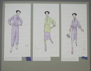 Rayon shirt / Trevira trousers; Viyella overshirt / Trevira skirt; Silky Rayon dress