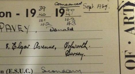 Donald Pavey registration card